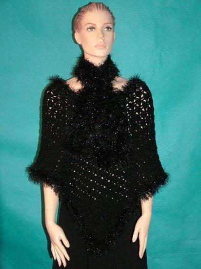 KNC Hand Crochet Plush-Fur Poncho w Hand Knit Plush-Fur Scarf Black Glitter