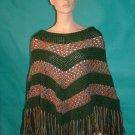 KNC  Hand Crochet Classic Shell Poncho Sage-Sierra