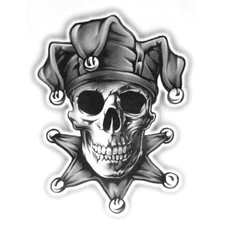 og abel realistic temporary tattoo joker skull