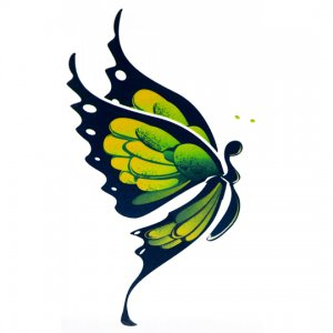 Lethal Threat Girl's Club Temporary Tattoo, Green & Yellow Butterfly