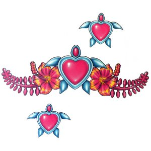 Lethal Threat Girl's Club Temporary Tattoo, Turtle Hearts & Flowers