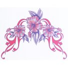 Lethal Threat Girl's Club Temporary Tattoo, Tribal Pink Flowers
