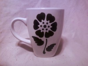 White Ceramic coffee mug with Hand painted black flower with stem and leaves