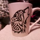 White Ceramic coffee mug with Hand painted black tribal wolf
