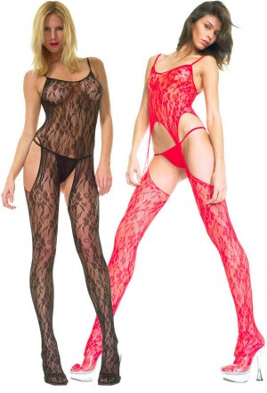 Punk Suspender Lace Crotchless Bodystocking in Black