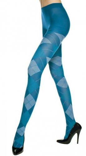 Punk Rock Emo Goth Argyle Tights Pantyhose Sexy Opaque Diamond Fashion Stockings in Blue/White