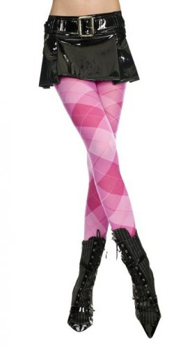 Punk Rock Emo Goth Argyle Tights Pantyhose Sexy Opaque Diamond Fashion Stockings in Pink/Fuchsia
