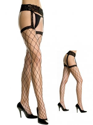 Spandex Fence Net All-in-One Garter Belt Suspender Pantyhose in Black