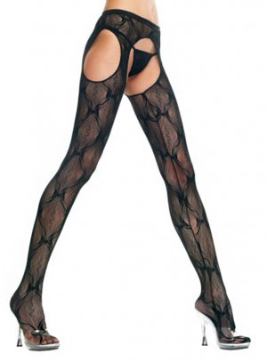 Plus Size Black Crotchless Suspender Garter Belt Bow-Lace Pantyhose