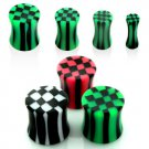 Pair of Green and Black Checkers Design Ear Plug in 6mm