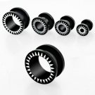 Pair of Black Sun Goth Gauge Earring Punk Flesh Tunnel Ear Plug in 4mm