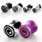 Pair of Black and White Acrylic Saddle Double Flare Ear Plugs Spiral Design in 8mm