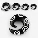 Pair of African Black Horn Spiral Taper Talon Expander Ear Plugs Spiral Design in 8mm