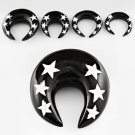Pair of Punk Black Horn Ear Plug Taper Expanders Stars Design in 0g / 8mm
