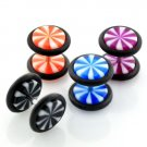 Pair of Black Punk Goth Fake Gauge Illusion UV Plugs in 8mm