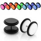 Pair of Solid Black Punk Goth Fake Gauge Illusion UV Plugs in 5mm
