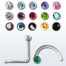 Stainless Steel Aurora Borealis-Sapphire Crystal Nose Stud Ring
