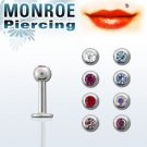 "Set of 10 - 16g/ 3mm Ball/ 1/4"" Labret Surgical Steel Monroe Piercing with Crystal - One/Each Color"