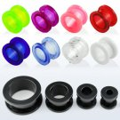 0g / 8mm - Pair of Red Screw Acrylic Flesh Tunnel Plugs