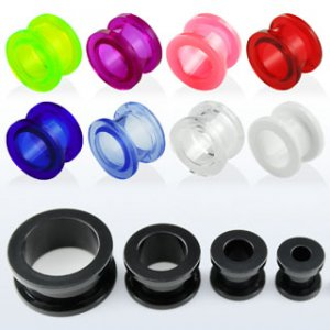 0g / 8mm - Pair of Light Blue Screw Acrylic Flesh Tunnel Plugs