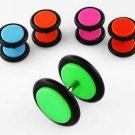 Illusion Orange Fake Plugs w/ Rubber O-rings (8mm wide) UV Acrylic