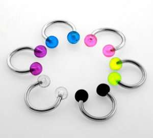 Clear Single Steel 14g (1.6mm) Circular Barbell Ring w/ 5mm Acrylic UV Bubble Balls