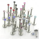 Set of 10 (Assorted Color) - 16g / 6mm Steel Labrets with 2.5 mm Flathead Jewel