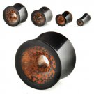 6g / 4mm Pair of Double-Flared Hollow Plug in Black Horn and Coconut Wood