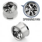 """9/16"""" / 14mm Silver Steel Double Flare Spinning Pinwheel Fan Tunnel Ear Plugs"""