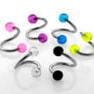Set of 6 - 14g Spiral Piercings with 5mm Acrylic UV Bubble Balls