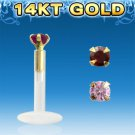 Single Clear Bio Flexible Labret with Round Rose 2mm CZ Stone and 14k Gold Top
