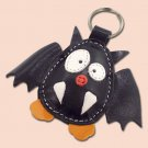 Cute little black bat leather animal keychain - FREE shipping