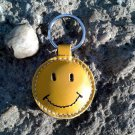 Smiley Face / Happy Face Yellow Leather Keychain FREE Shipping