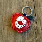 Handmade Leather Keychain Red Apple - FREE shipping