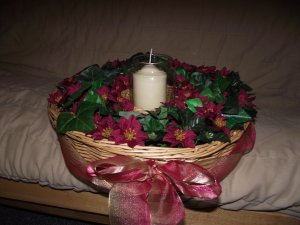 Large Round Red Silk Flower and Candle Centerpiece