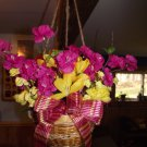 Pink and Yellow Hanging Flower Basket