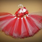 Red and White Tutu and matching bow