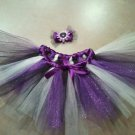 Purple and White Tutu and matching hair bow