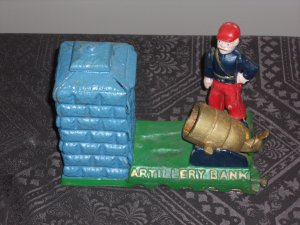 Vintage Cast iron Artillary mechanical bank