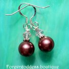 Bronze pearl and pink crystal