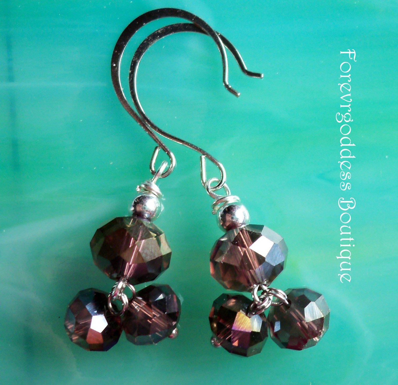 purple double drops earrings