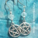 White rondelle  crystals and Pentagram earrings