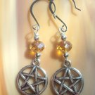 Yellow  rondelle  crystals and Pentagram  earrings