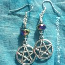 Rainbow  rondelle  crystals and Pentagram  earrings