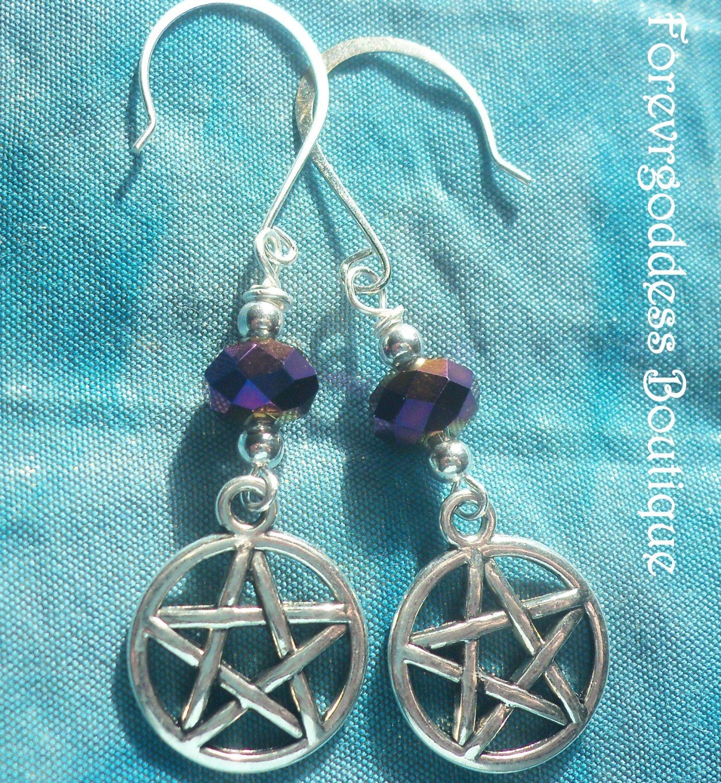 Metallic purple  crystals and Pentagram  earrings