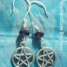 Metallic purple  crystals and Pentagram  earrings