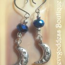 Metallic Blue  crystals and Crescent moon earrings