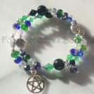Onyx& Blue crystals w/ pentagram memory wire BR