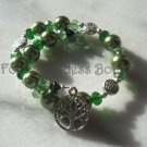 Green Pearls & Crystals /tree of life memory wire BR
