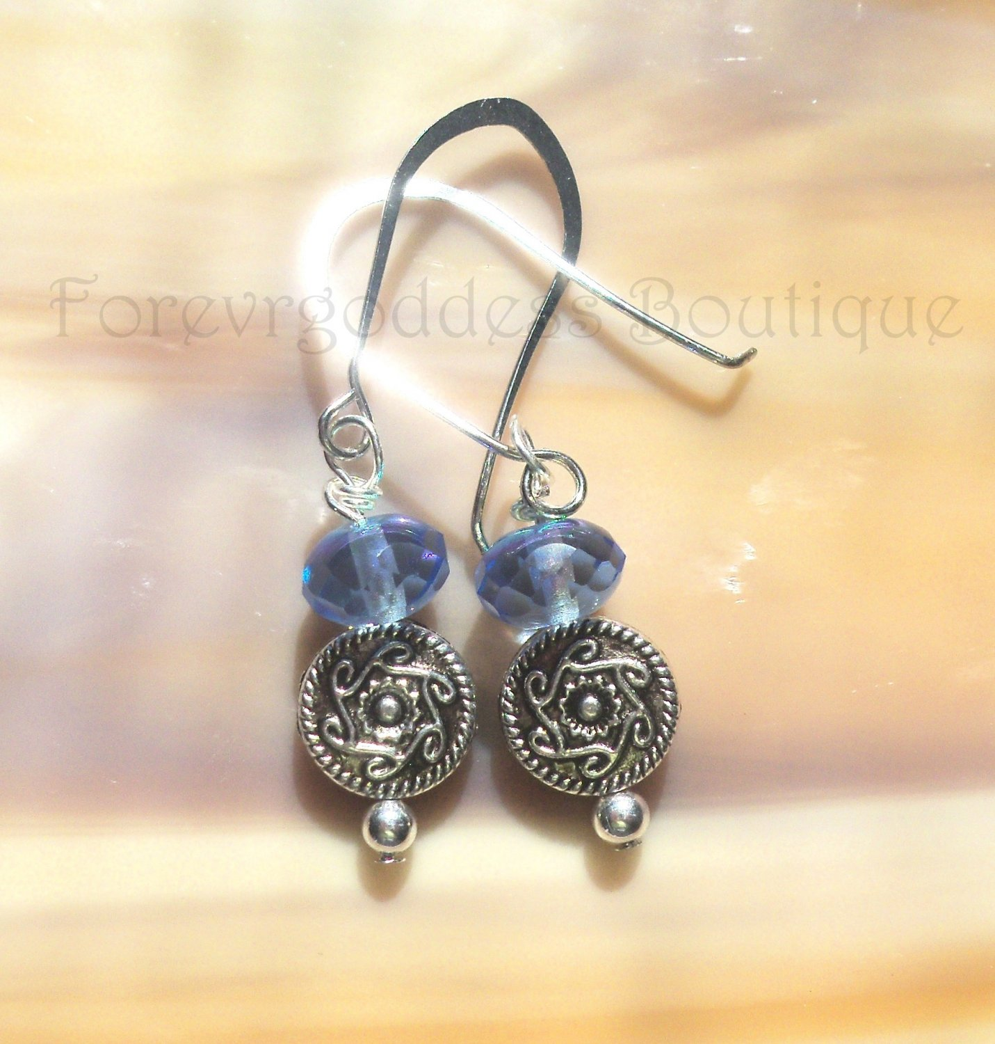 SKY Blue crystals with Indian swirls earrings